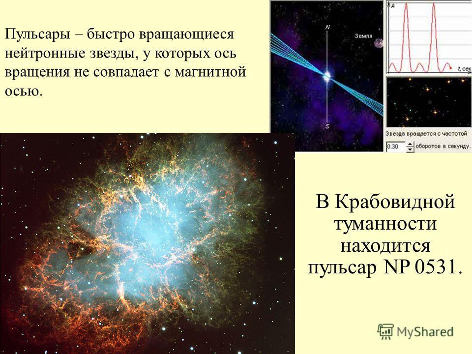 В Крабовидной туманности находится пульсар NP 0531. Пульсары – быстро вращающиеся нейтронные звезды, у которых ось вращения не совпадает с магнитной осью.