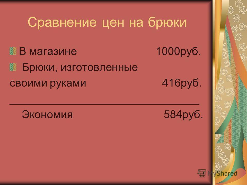 Сравнение цен на брюки В магазине 1000руб. Брюки, изготовленные своими руками 416руб. _______________________________ Экономия 584руб.