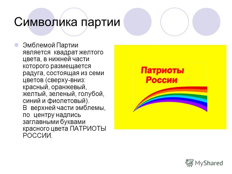 Символика партии Эмблемой Партии является квадрат желтого цвета, в нижней части которого размещается радуга, состоящая из семи цветов (сверху-вниз: красный, оранжевый, желтый, зеленый, голубой, синий и фиолетовый). В верхней части эмблемы, по центру