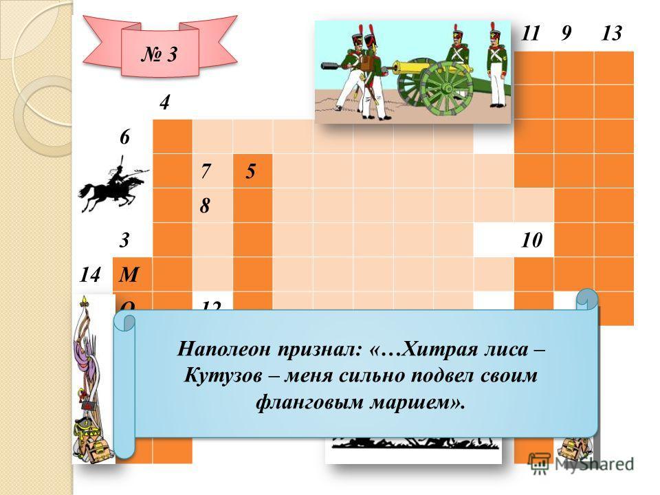 11913 4 6 7 5 8 3 10 14М О12 С МИР К В А 3 3 Наполеон признал: «…Хитрая лиса – Кутузов – меня сильно подвел своим фланговым маршем».