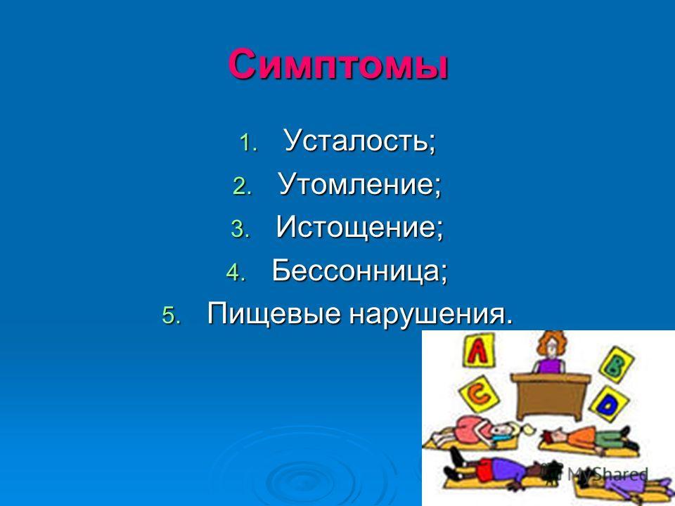 Симптомы 1. Усталость; 2. Утомление; 3. Истощение; 4. Бессонница; 5. Пищевые нарушения.
