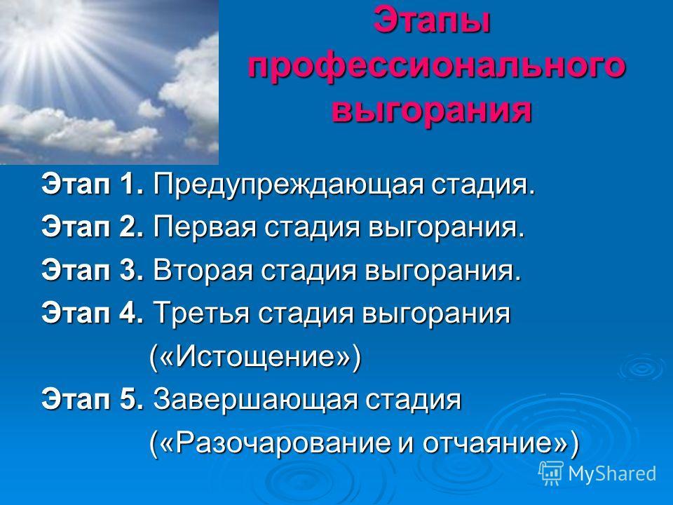 Этапы профессионального выгорания Этапы профессионального выгорания Этап 1. Предупреждающая стадия. Этап 2. Первая стадия выгорания. Этап 3. Вторая стадия выгорания. Этап 4. Третья стадия выгорания («Истощение») («Истощение») Этап 5. Завершающая стад