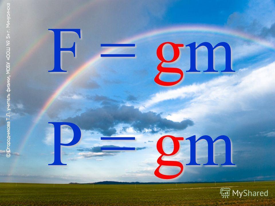 F = gm P = gm © Огородникова Т.Л. учитель физики, МОБУ «ООШ 5» г. Минусинска