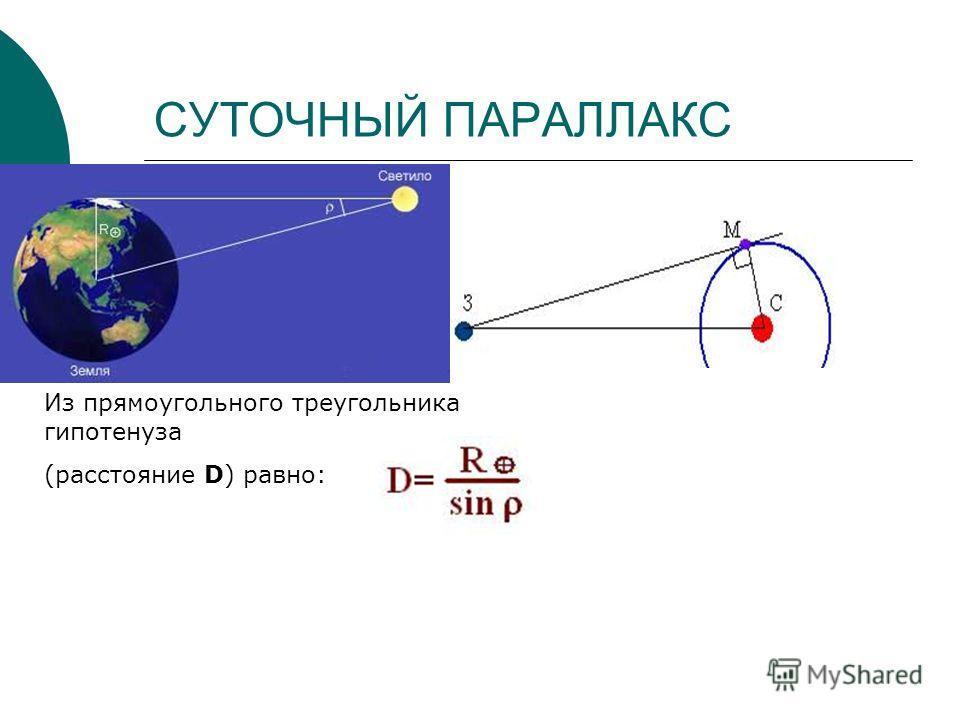 СУТОЧНЫЙ ПАРАЛЛАКС Из прямоугольного треугольника гипотенуза (расстояние D) равно: