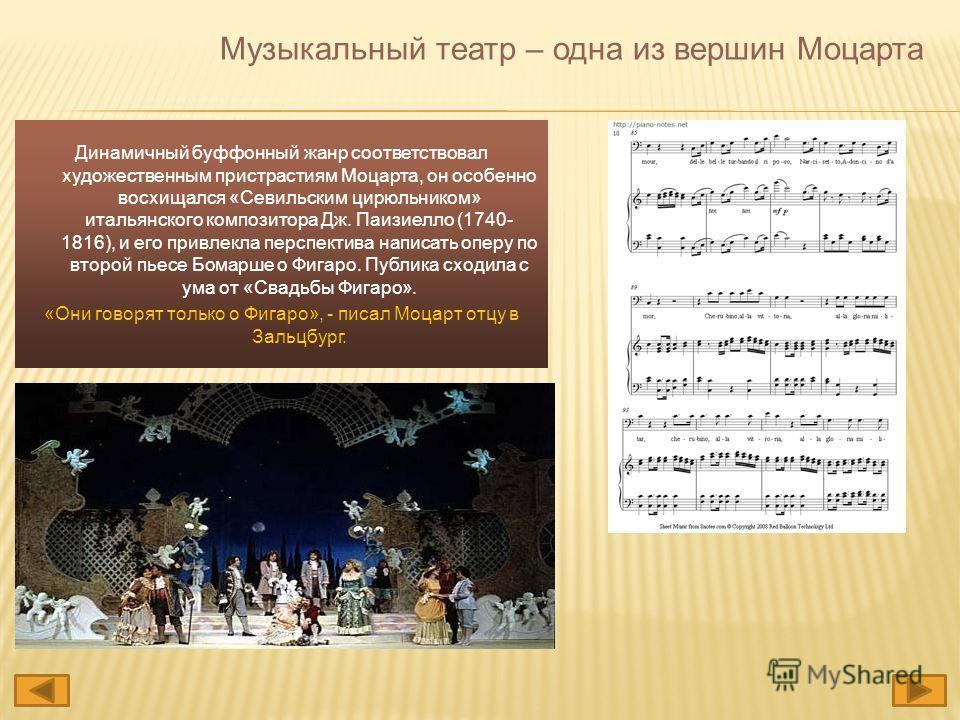 Музыкальный театр – одна из вершин Моцарта Динамичный буффонный жанр соответствовал художественным пристрастиям Моцарта, он особенно восхищался «Севильским цирюльником» итальянского композитора Дж. Паизиелло (1740- 1816), и его привлекла перспектива