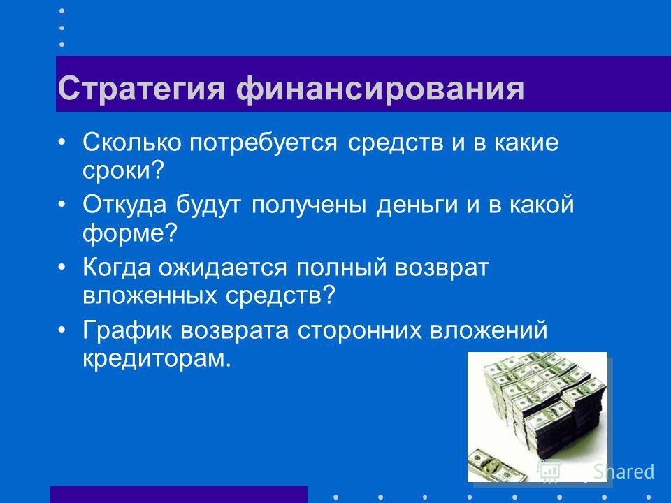 Стратегия финансирования Сколько потребуется средств и в какие сроки? Откуда будут получены деньги и в какой форме? Когда ожидается полный возврат вложенных средств? График возврата сторонних вложений кредиторам.