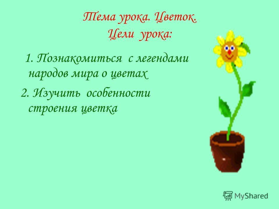 Тема урока. Цветок. Цели урока: 1. Познакомиться с легендами народов мира о цветах 2. Изучить особенности строения цветка