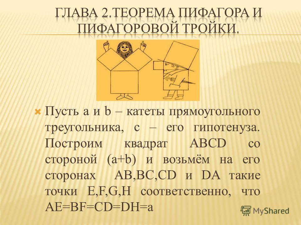 Пусть a и b – катеты прямоугольного треугольника, c – его гипотенуза. Построим квадрат ABCD со стороной (a+b) и возьмём на его сторонах AB,BC,CD и DA такие точки E,F,G,H соответственно, что AE=BF=CD=DH=a