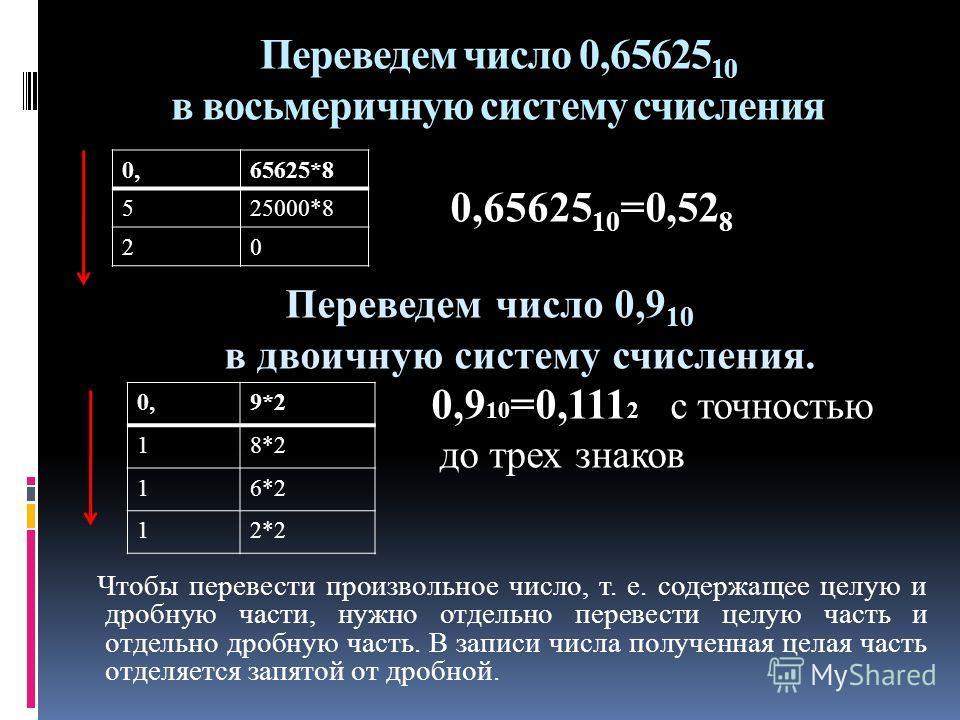 Переведем число 0,65625 10 в восьмеричную систему счисления 0,65625 10 =0,52 8 Переведем число 0,9 10 в двоичную систему счисления. 0,9 10 =0,111 2 с точностью до трех знаков Чтобы перевести произвольное число, т. е. содержащее целую и дробную части,