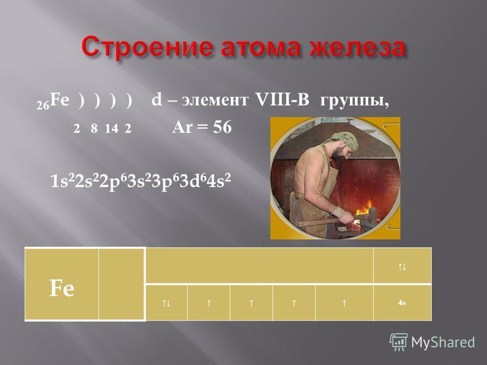 26 Fe ) ) ) ) d – элемент VIII- В группы, 2 8 14 2 А r = 56 1s 2 2s 2 2p 6 3s 2 3p 6 3d 6 4s 2 Fe 4s4s