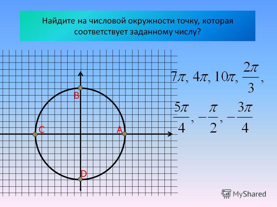 Найдите на числовой окружности точку, которая соответствует заданному числу? АС В D