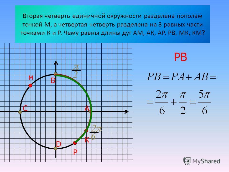 Вторая четверть единичной окружности разделена пополам точкой М, а четвертая четверть разделена на 3 равных части точками К и Р. Чему равны длины дуг АМ, АК, АР, РВ, МК, КМ? АС В D м РК 2π2π 6 π 2 РВ