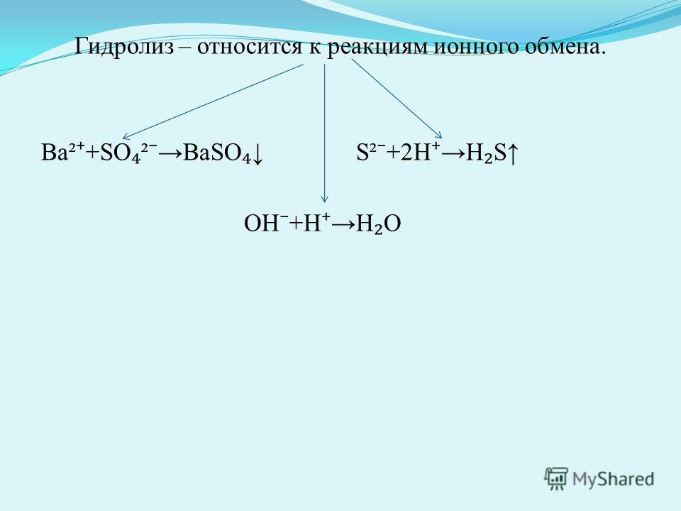 Гидролиз – относится к реакциям ионного обмена. Ва² +SO ² BaSO S² +2H H S OH +H H O