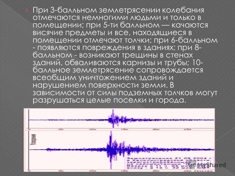 При 3-балльном землетрясении колебания отмечаются немногими людьми и только в помещении; при 5-ти балльном качаются висячие предметы и все, находящиеся в помещении отмечают толчки; при 6-балльном - появляются повреждения в зданиях; при 8- балльном -