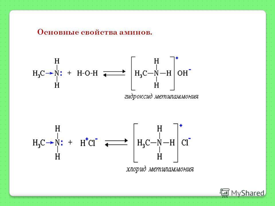 Основные свойства аминов.