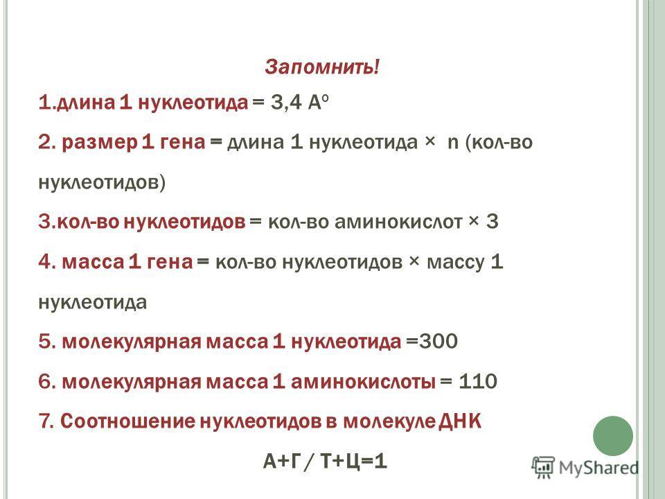 Запомнить! 1.длина 1 нуклеотида = 3,4 А о 2. размер 1 гена = длина 1 нуклеотида × n (кол-во нуклеотидов) 3.кол-во нуклеотидов = кол-во аминокислот × 3 4. масса 1 гена = кол-во нуклеотидов × массу 1 нуклеотида 5. молекулярная масса 1 нуклеотида =300 6