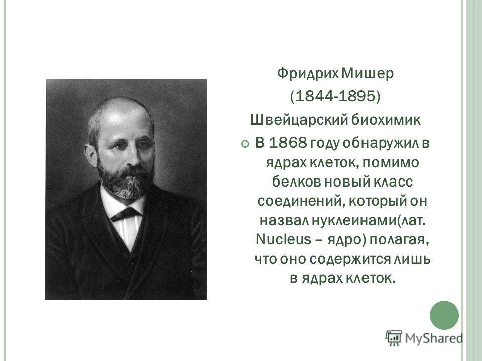 Фридрих Мишер (1844-1895) Швейцарский биохимик В 1868 году обнаружил в ядрах клеток, помимо белков новый класс соединений, который он назвал нуклеинами(лат. Nucleus – ядро) полагая, что оно содержится лишь в ядрах клеток.