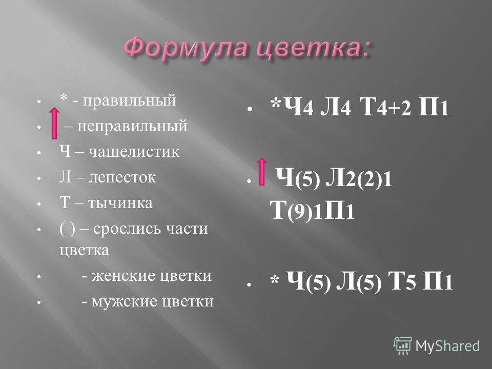 * - правильный – неправильный Ч – чашелистик Л – лепесток Т – тычинка ( ) – срослись части цветка - женские цветки - мужские цветки * Ч 4 Л 4 Т 4+2 П 1 Ч (5) Л 2(2)1 Т (9)1 П 1 * Ч (5) Л (5) Т 5 П 1
