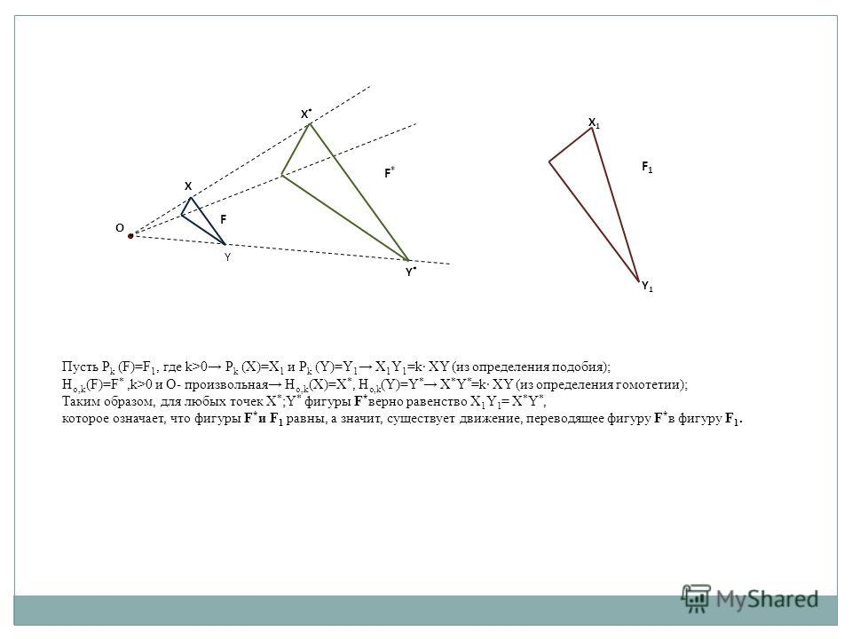 O X Y X*X* Y*Y* F F*F* X1X1 Y1Y1 F1F1 Пусть Р k (F)=F 1, где k>0 Р k (X)=X 1 и Р k (Y)=Y 1 X 1 Y 1 =k XY (из определения подобия); H o,k (F)=F *,k>0 и О- произвольная H o,k (X)=X *, H o,k (Y)=Y * X * Y * =k XY (из определения гомотетии); Таким образо
