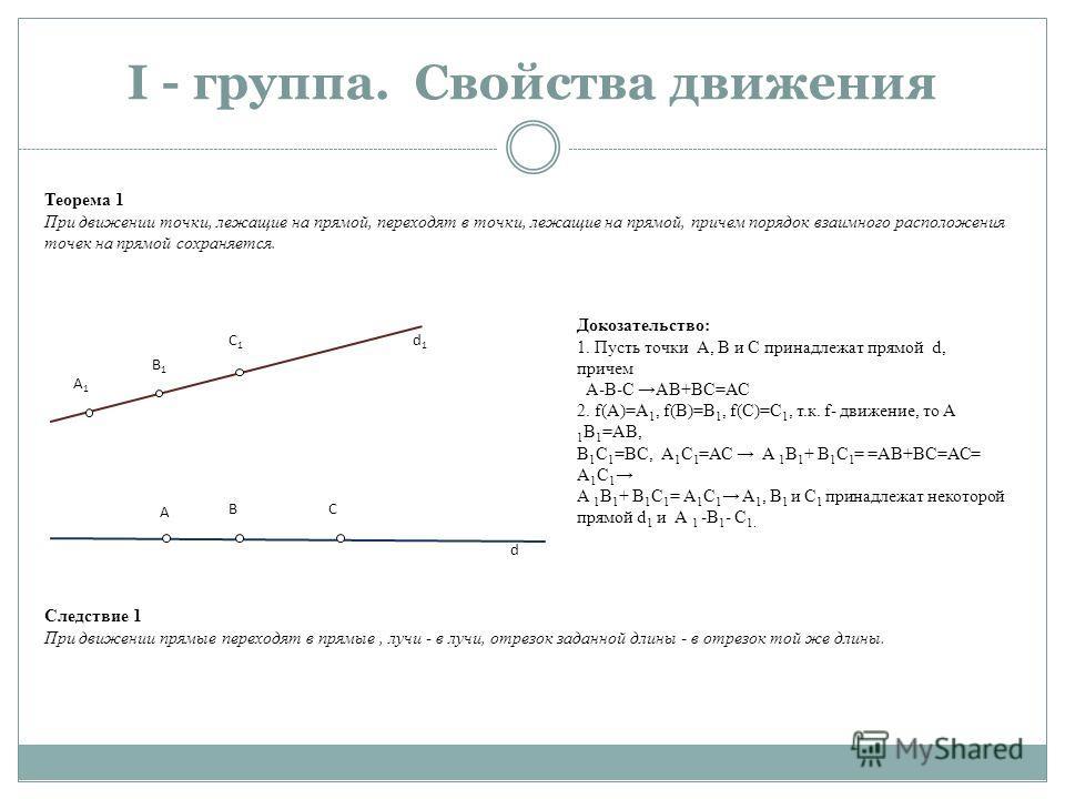 I - группа. Свойства движения А1А1 B1B1 C1C1 A BC d d1d1 Теорема 1 При движении точки, лежащие на прямой, переходят в точки, лежащие на прямой, причем порядок взаимного расположения точек на прямой сохраняется. Докозательство: 1. Пусть точки А, В и С