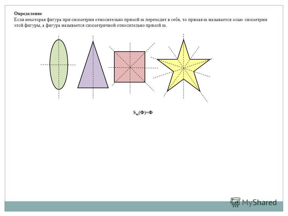 Определение Если некоторая фигура при симметрии относительно прямой m переходит в себя, то прямая m называется осью симметрии этой фигуры, а фигура называется симметричной относительно прямой m. S m (Ф)=Ф