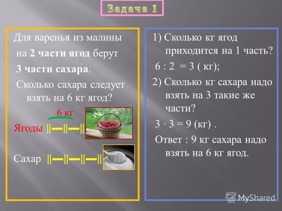 Для варенья из малины на 2 части ягод берут 3 части сахара. Сколько сахара следует взять на 6 кг ягод ? 6 кг Ягоды Сахар 1) Сколько кг ягод приходится на 1 часть ? 6 : 2 = 3 ( кг ); 2) Сколько кг сахара надо взять на 3 такие же части ? 3 3 = 9 ( кг )