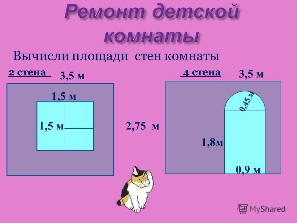 Вычисли площади стен комнаты 2 стена 4 стена 3,5 м 2,75 м 1,5 м 0,9 м 1,8 м