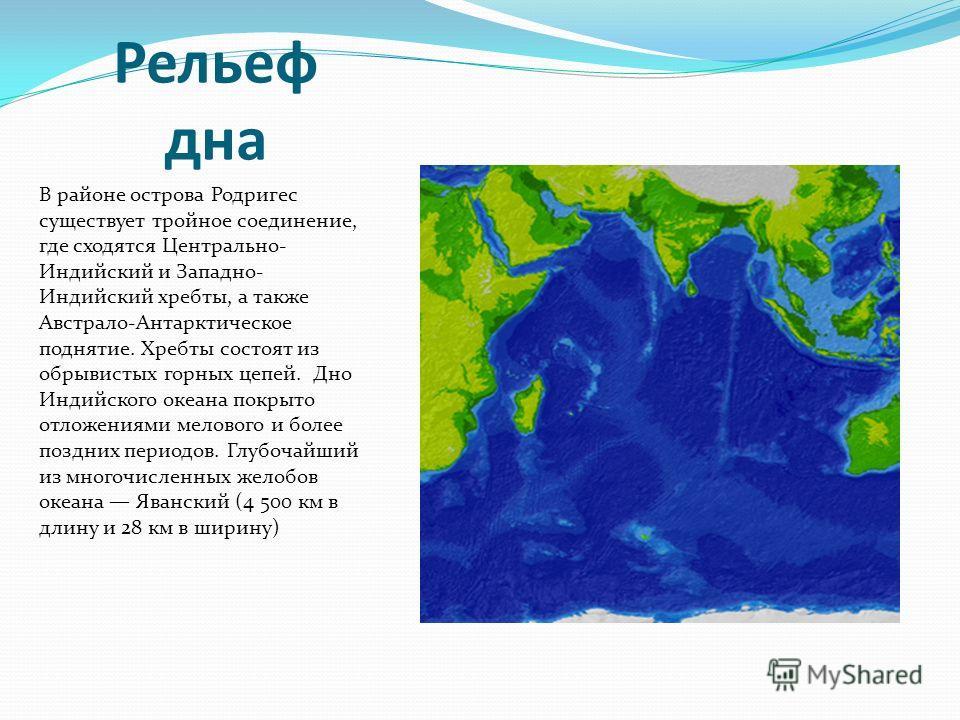 Рельеф дна В районе острова Родригес существует тройное соединение, где сходятся Центрально- Индийский и Западно- Индийский хребты, а также Австрало-Антарктическое поднятие. Хребты состоят из обрывистых горных цепей. Дно Индийского океана покрыто отл