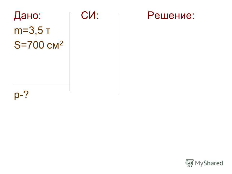 Дано: СИ: Решение: m=3,5 т S=700 см 2 р-?