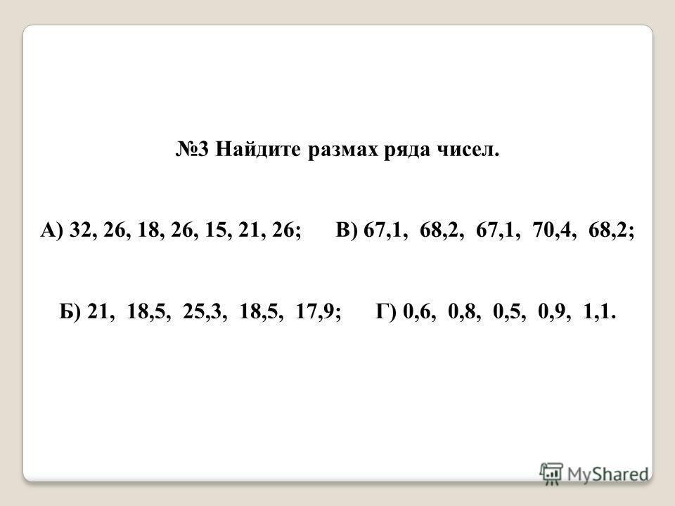 3 Найдите размах ряда чисел. А) 32, 26, 18, 26, 15, 21, 26; В) 67,1, 68,2, 67,1, 70,4, 68,2; Б) 21, 18,5, 25,3, 18,5, 17,9; Г) 0,6, 0,8, 0,5, 0,9, 1,1.