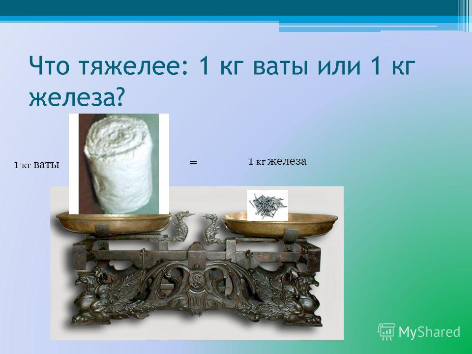 Что тяжелее: 1 кг ваты или 1 кг железа? 1 кг ваты 1 кг железа =