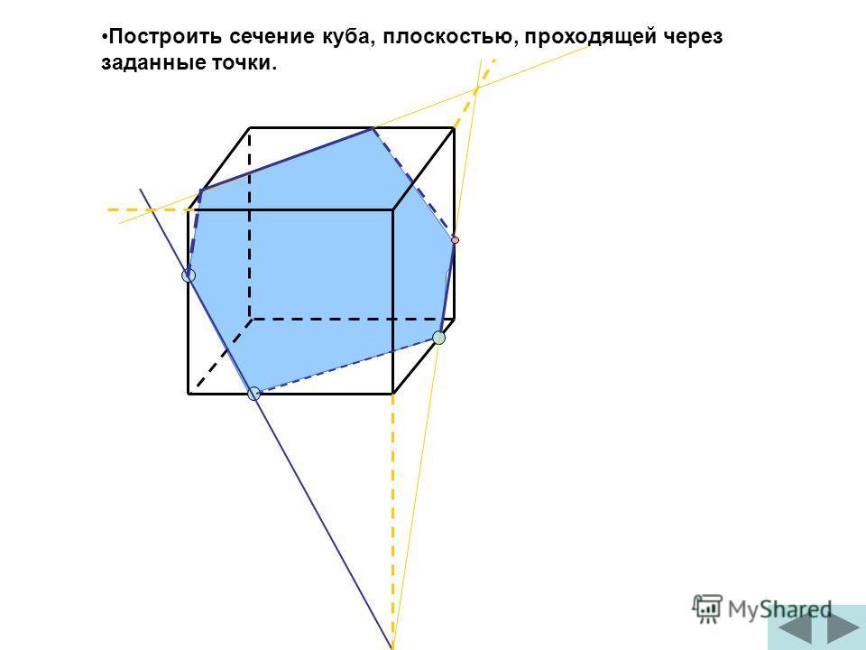 Построить сечение куба, плоскостью, проходящей через заданные точки.