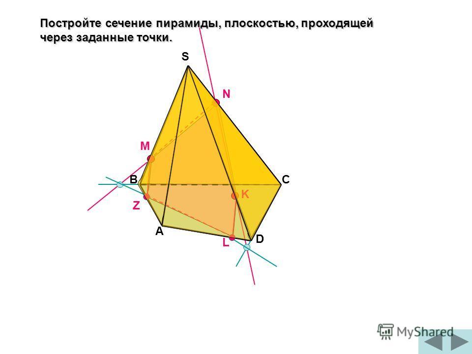 Постройте сечение пирамиды, плоскостью, проходящей через заданные точки. М N K A BC D S Z L