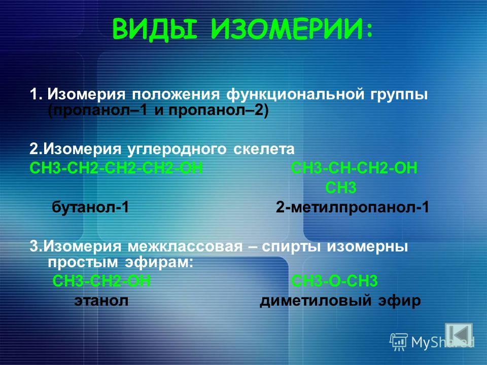 ВИДЫ ИЗОМЕРИИ: 1. Изомерия положения функциональной группы (пропанол–1 и пропанол–2) 2.Изомерия углеродного скелета CH3-CH2-CH2-CH2-OH CH3-CH-CH2-OH CH3 бутанол-1 2-метилпропанол-1 3.Изомерия межклассовая – спирты изомерны простым эфирам: СН3-СН2-ОН