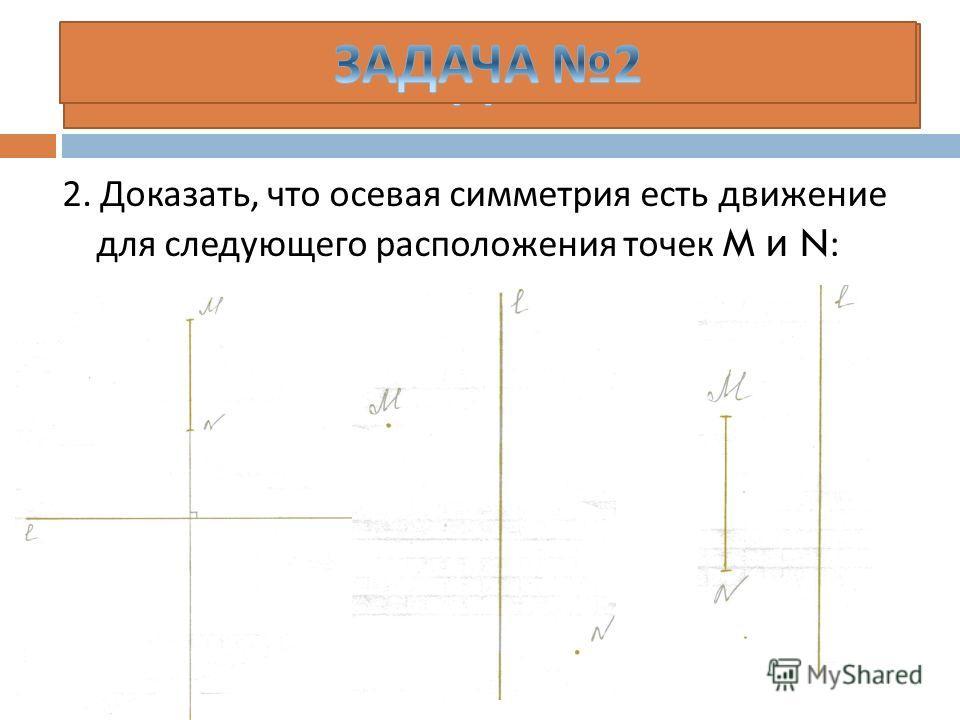 2. Доказать, что осевая симметрия есть движение для следующего расположения точек M и N :