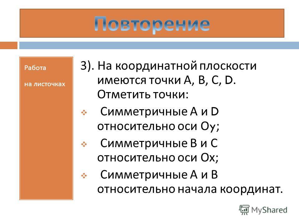 Работа на листочках 3). На координатной плоскости имеются точки А, В, С, D. Отметить точки : Симметричные А и D относительно оси О y; Симметричные В и С относительно оси Ох ; Симметричные А и В относительно начала координат.
