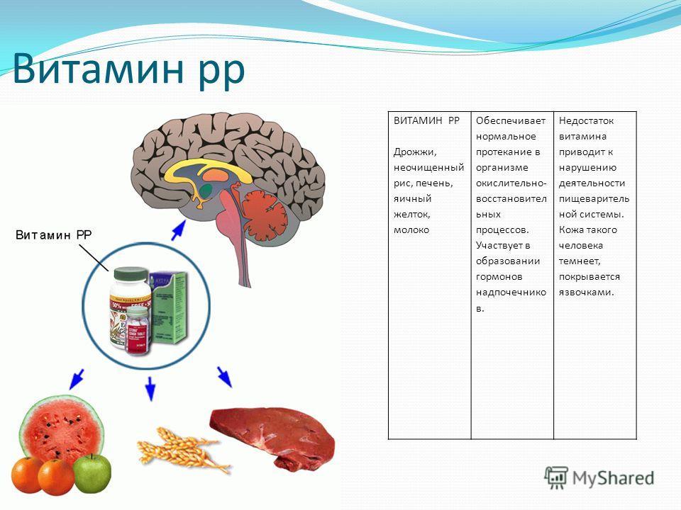 Витамин рр ВИТАМИН РР Дрожжи, неочищенный рис, печень, яичный желток, молоко Обеспечивает нормальное протекание в организме окислительно- восстановител ьных процессов. Участвует в образовании гормонов надпочечнико в. Недостаток витамина приводит к на