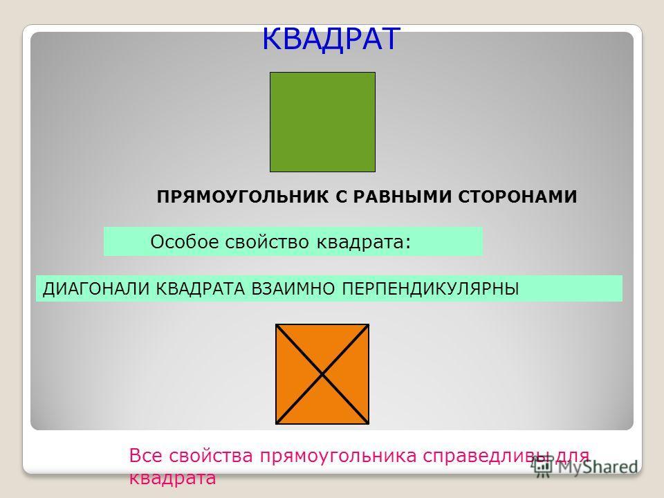 КВАДРАТ ПРЯМОУГОЛЬНИК С РАВНЫМИ СТОРОНАМИ Все свойства прямоугольника справедливы для квадрата Особое свойство квадрата: ДИАГОНАЛИ КВАДРАТА ВЗАИМНО ПЕРПЕНДИКУЛЯРНЫ