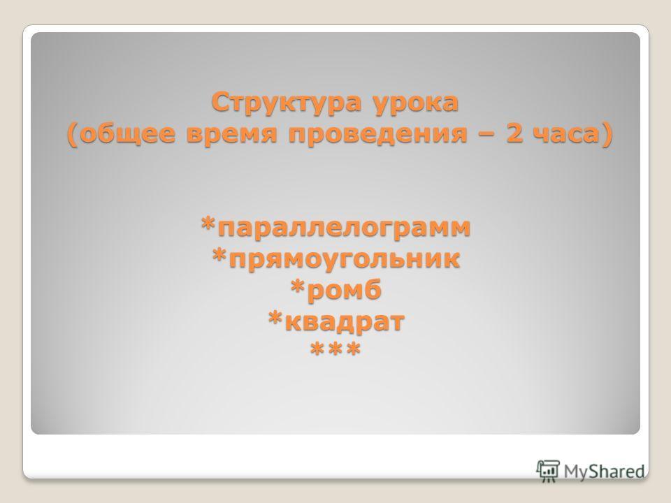 Структура урока (общее время проведения – 2 часа) *параллелограмм *прямоугольник *ромб *квадрат ***