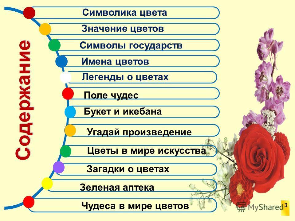 Имена цветов Символы государств Содержание Символика цвета Значение цветов Легенды о цветах Поле чудес Букет и икебана Цветы в мире искусства Угадай произведение Чудеса в мире цветов 3 Загадки о цветах Зеленая аптека