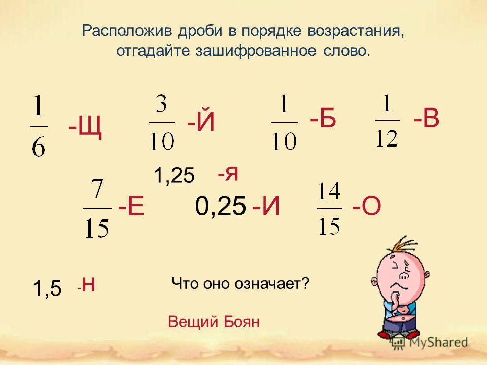 Расположив дроби в порядке возрастания, отгадайте зашифрованное слово. 1,5 -я-я -Щ -Е -В -Й -И-О -Б Что оно означает? Вещий Боян 0,25 1,25 -н-н