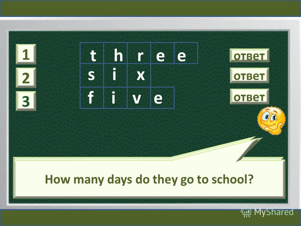 1 How many times are there the main school holidays? ответ hrete 2 How many terms are there in a school year? ответ six 3 How many days do they go to school? ответ five