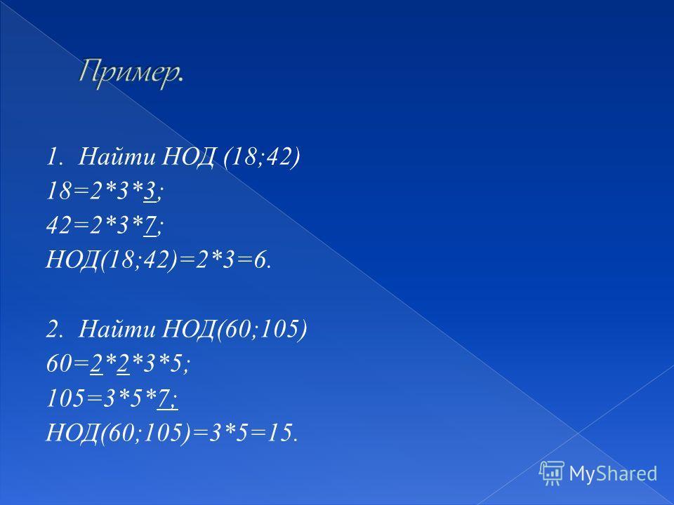 1. Найти НОД (18;42) 18=2*3*3; 42=2*3*7; НОД(18;42)=2*3=6. 2. Найти НОД(60;105) 60=2*2*3*5; 105=3*5*7; НОД(60;105)=3*5=15.