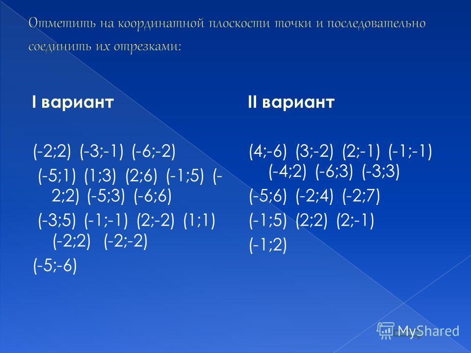 I вариант (-2;2) (-3;-1) (-6;-2) (-5;1) (1;3) (2;6) (-1;5) (- 2;2) (-5;3) (-6;6) (-3;5) (-1;-1) (2;-2) (1;1) (-2;2) (-2;-2) (-5;-6) II вариант (4;-6) (3;-2) (2;-1) (-1;-1) (-4;2) (-6;3) (-3;3) (-5;6) (-2;4) (-2;7) (-1;5) (2;2) (2;-1) (-1;2)