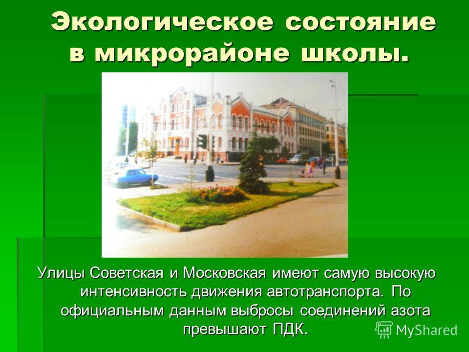 Экологическое состояние в микрорайоне школы. Экологическое состояние в микрорайоне школы. Улицы Советская и Московская имеют самую высокую интенсивность движения автотранспорта. По официальным данным выбросы соединений азота превышают ПДК.
