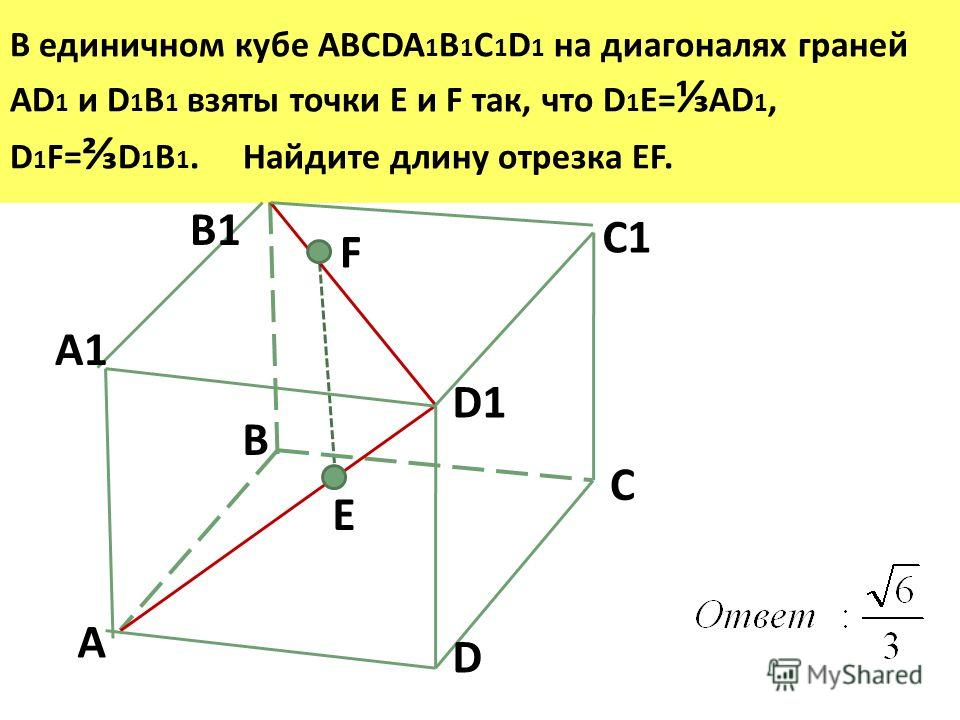 В единичном кубе ABCDA 1 B 1 C 1 D 1 на диагоналях граней AD 1 и D 1 B 1 взяты точки Е и F так, что D 1 E= AD 1, D 1 F= D 1 B 1. Найдите длину отрезка EF. D1 A B C D A1 B1 C1 E F