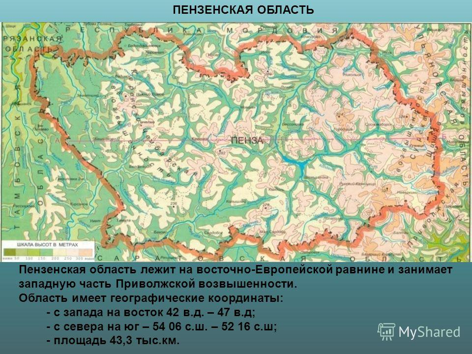 Пензенская область лежит на восточно-Европейской равнине и занимает западную часть Приволжской возвышенности. Область имеет географические координаты: - с запада на восток 42 в.д. – 47 в.д; - с севера на юг – 54 06 с.ш. – 52 16 с.ш; - площадь 43,3 ты