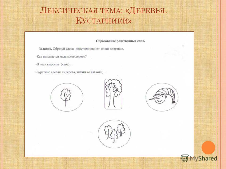 Л ЕКСИЧЕСКАЯ ТЕМА : «Д ЕРЕВЬЯ. К УСТАРНИКИ »