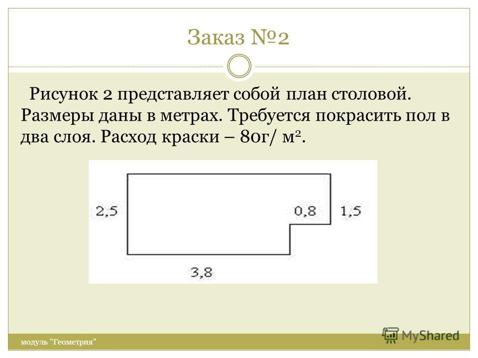 Заказ 2 модуль Геометрия Рисунок 2 представляет собой план столовой. Размеры даны в метрах. Требуется покрасить пол в два слоя. Расход краски – 80г/ м 2.