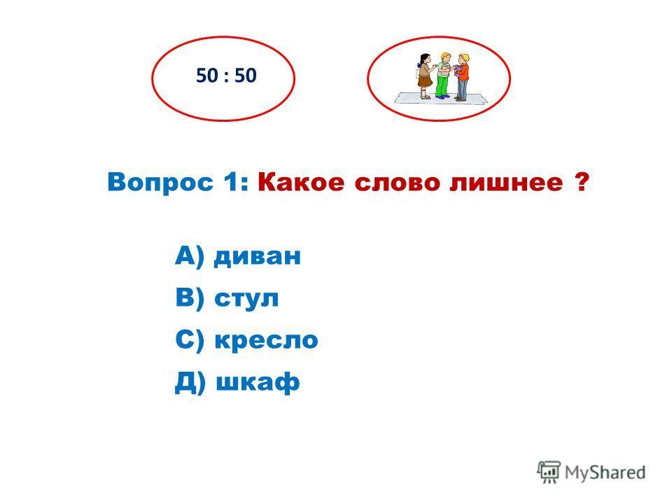 Вопрос 1: Какое слово лишнее ? 50 : 50 Д) шкаф С) кресло В) стул А) диван